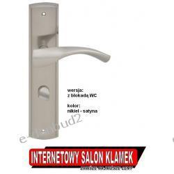 Klamka BILBAO na szyldzie podłużnym 72mm nikiel satyna wersja z blokadą WC