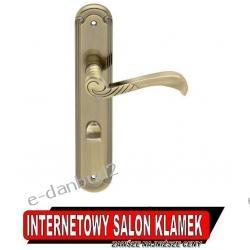 Klamka ALEPPO na szyldzie podłużnym 72mm mosiądz antyczny wersja z blokadą WC