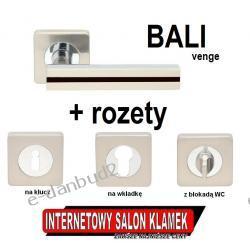 SUPER OKAZJA! Klamka BALI VENGE Gato na rozecie kwadratowej satyna + ROZETY GRATIS