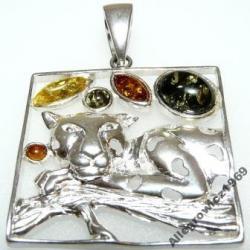 Wisiorek kotek srebro bursztyn bałtycki