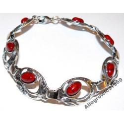 Bransoletka czerwony koral oryginalny styl...