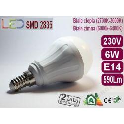 ŻARÓWKA bańka GLOBE LED E14 6W=60W zimna