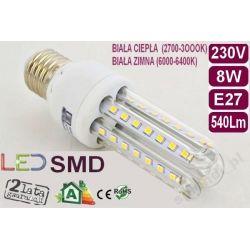 ŻARÓWKA energooszczędna 50 LED 8W=80W E-27 CIEPŁA