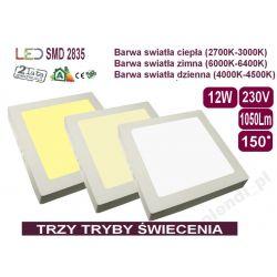 PLAFON Panel LED kwadrat lampa 12W 3 tryby światła