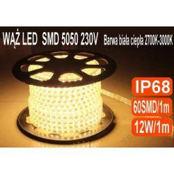 1m TAŚMA LED 230V WĄŻ LISTWA 5050 IP68 ciepła