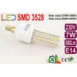 ŻARÓWKA energooszczędna 48 LED 7W jak70W E14 zimna