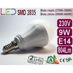 ŻARÓWKA bańka GLOBE LED E14 9W=90W ciepła
