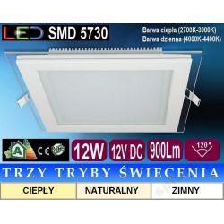Plafon sufitowy LED kwadrat szkło FOW 12W 3 tryby