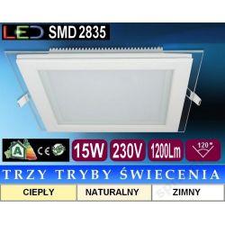 Plafon sufitowy LED kwadrat szkło FOW 15W 3 tryby
