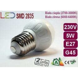 ŻARÓWKA BAŃKA GLOBE LED G45 E27 4W=40W biała zimna