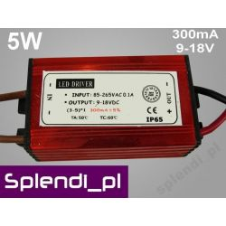 Zasilacz (driver) AC do LED 5W 300mA 9-18V /82/