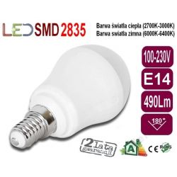 ŻARÓWKA bańka GLOBE P45 LED E14 7W 490Lm ciepła