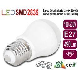 ŻARÓWKA bańka GLOBE P45 LED E27 7W 490Lm zimna