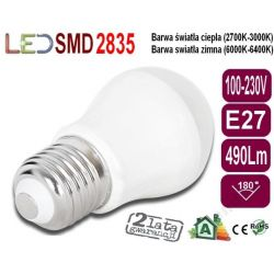 ŻARÓWKA bańka GLOBE P45 LED E27 7W 490Lm ciiepła