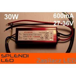 Zasilacz (driver) AC do LED 30W 600mA 27-36V