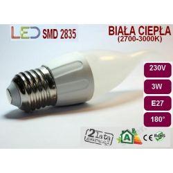 ŻARÓWKA PŁOMYK LED SMD 2835 3W E27 ciepła/zimna