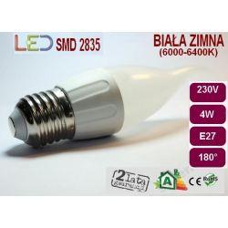 ŻARÓWKA PŁOMYK LED SMD 2835 4W E27 ciepła/zimna