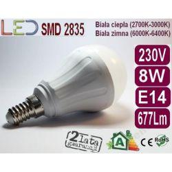 ŻARÓWKA BAŃKA Globe LED E14 8W 640Lm zimna