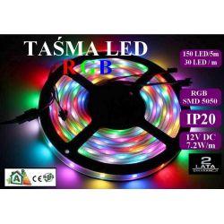 Taśma listwa RGB LED 150 30/m IP20 1mb SMD 5050