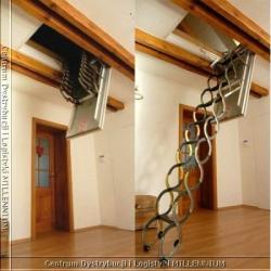 schody nożycowe 90x70cm płyta paździerzowa H=280cm