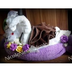 Łabędzie z ręczników - Komplet fioletowy