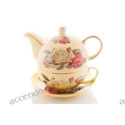 KOMPLET DO HERBATY TEA FOR ONE RÓŻE PORCELANOWY