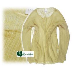 VILA żółty ażurowy sweter - rozmiar L