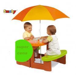 SMOBY - Stolik Stol Piknikowy z PARASOLEM+