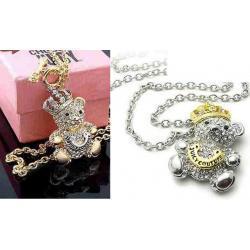 wisiorek Juicy Couture bear, złoto- srebrny miś cyrkonie swarovski