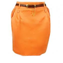 pomarańczowa spódniczka ołówkowa mini 40 L pasek