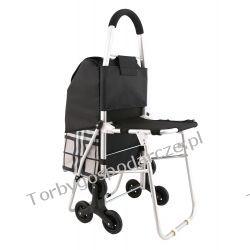 Wózek aluminiowy na zakupy z potrójnymi kołami z siedzeniem KRATA 3KS Woreczki i torby foliowe