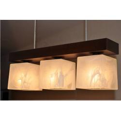 Lampa wisząca CUBO 3 wenge - klosze biel alabaster