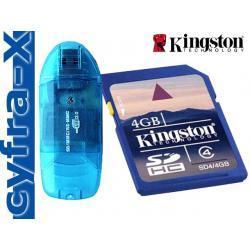 Karta KINGSTON SD 4GB SDHC B.SZYBKA + CZYTNIK KART