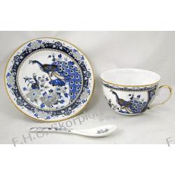 Serwis kawowy 18 elementów - Pawie niebieski / porcelana