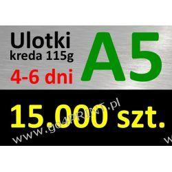 Ulotki A5 nakład 15000 szt., papier kredowy 115g