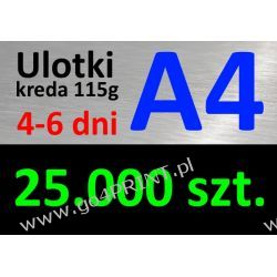 Ulotki A4 nakład 25000 szt., papier kredowy 115g