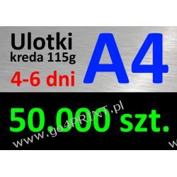 Ulotki A4 nakład 50000 szt., papier kredowy 115g