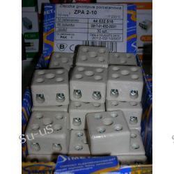 ZPA2-10 złączka ( listwa , kostka) porcelanowa z otworem montażowym  produkcji SIMET