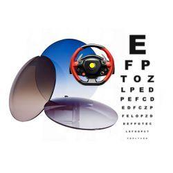 Szkła plastikowe, sferyczne barwione indeks 1,50 z wielowarstwową powłoką antyrefleksyjną dla kierowców Drive Control. Korekcja wzroku