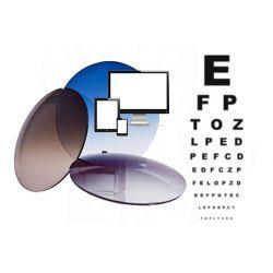 Szkła plastikowe, sferyczne barwione indeks 1,50 z wielowarstwową powłoką antyrefleksyjną LED Control. Korekcja wzroku