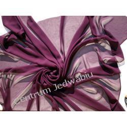 ŻORŻETA DELIKATNA - ciemny śliwkowy fiolet - szer. 140 cm Jedwab naturalny