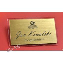 Eleganckie identyfikatory srebro, złoto drapane FU Akcesoria biurowe