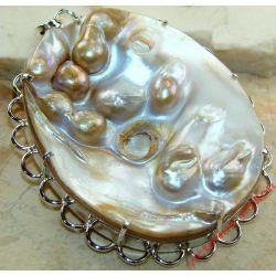 Wspaniały perłopław z wtopionymi perłami MABE ! Ogromny wisior !