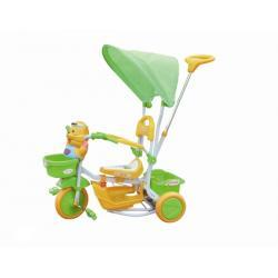 Rowerek trółkołowy zielony kotek z baldachimem 7393 - Baby Ono