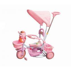Rowerek trółkołowy różowy kotek z baldachimem 7409 - Baby Ono