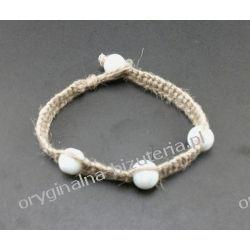 Bransoletka - Biały marmur w lnie
