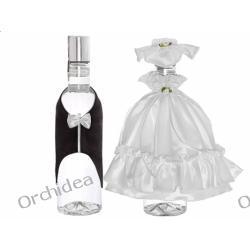 Ubranko na wódkę sukienka z kapeluszem i muszka w pudełku