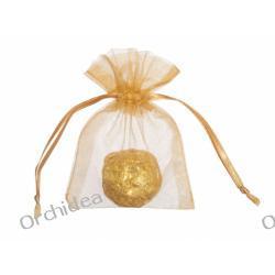 Woreczki z organzy dla gości 7,5x10cm -  złote,gładkie.