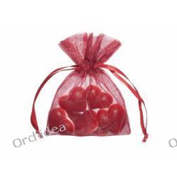 Woreczki z organzy dla gości 7,5x10cm - czerwone,gładkie ,