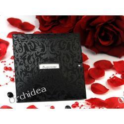 Zaproszenie z ornamentem czarne, 13 x13cm